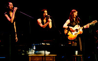 "Heather Masse, Nicky Mehta and Ruth Moody (l-r) of The Wailin' Jennys were musical guests on a live broadcast of ""A Prairie Home Companion"" at Wolf Trap on May 28, 2011."