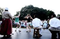 William & Mary students dance onstage during an African rhythms demonstration during the Colonial Williamsburg Evening event in Colonial Williamsburg on August 21, 2010.  The event was part of the new