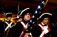 Color guard members await orders during a procession at the 64th Annual George Washington Birthnight Supper and Ball at the Mount Vernon Inn on February 20, 2011.