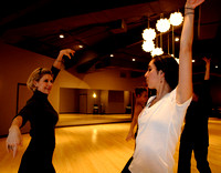 Kate Brownlee, left, practices a flamenco dance with instructor Ana Kelty, right, at Studio B Dance Center on November 17, 2009.
