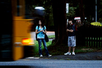 "Elizabeth Vargas, left, and brother Matthew Vargas wait for their bus to Mt. Vernon High School on the morning of September 6, 2011. Elizabeth was worried when the bus was ""already 15 minutes late on"