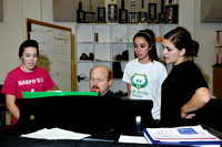 Director Mike Pierson, center, works with junior Kristen Thackery, left, and seniors Jackie Montano, and Kate Hrdina after a group rehearsal on Tuesday, October 13, 2009. The ladies are members of Roc