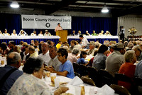 IRENE ROJAS/MissourianFormer governor Roger Wilson emceed the ham breakfast at the Boone County Fair on Saturday.