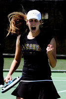 Freshman Danielle Day reacts to a shot during Missouri's match against the University of Colorado Buffaloes at Green Tennis Center on April 11, 2009.